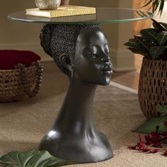 African Woman Table from Midnight Velvet. African Bedroom, African Living Rooms, African Themed Living Room, African Interior Design, African Design, African Women, African Art, African Style, African Masks