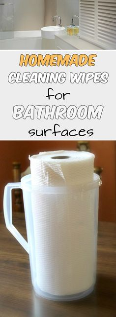 Homemade cleaning wipes for bathroom surfaces