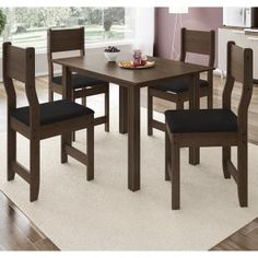 Conjunto Sala de Jantar Mesa 4 Cadeiras Dallas Indekes Nogal/Preto - Móveis para Salas de Jantar | Magazine Luiza