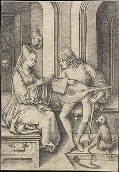 Israhel van Meckenem. The Singer and the Lute Player.  c. 1495. The Art Institute of Chicago. Chicago, Illinois.