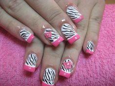 Zebra Print Black, White and Pink French Mani