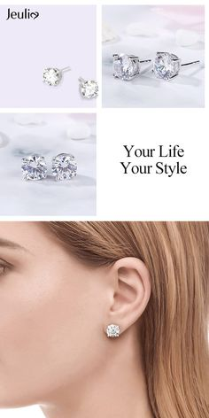 e7330a953 Classic Round Cut Sterling Silver Stud Earrings at Jeulia. A smart choice  you'll