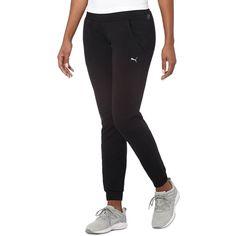 Puma Yogini Slim Pants ($60) ❤ liked on Polyvore featuring activewear, activewear pants, black, puma sportswear, puma activewear and logo sportswear