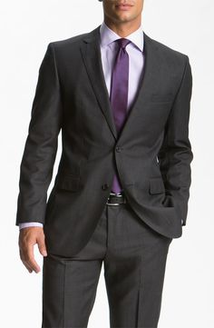 BOSS Black 'Jam/Sharp' Trim Fit Grey Virgin Wool Suit