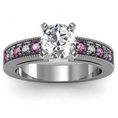 Milgrain Pavé Diamond & Pink Sapphire Engagement Ring set in 18k White Gold (3.5mm)  In stockSKU: S1038-PS-18W