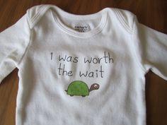 cute bodysuit / onesie - i was worth the wait slogan - green gender neutral turtle. $12.00, via Etsy.
