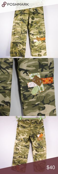 """Miss Me camo cargo crop capri pants Super cute Miss Me camo cargo crop capris with embroidered edges and oriental patches Size: Small Measurements laying flat 14.5"""" Waist 7.5""""    Rise 24""""     Inseam 31""""     Outseam The 2nd Picture is the best representation of color. Miss Me Pants Capris"""