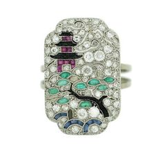 Anillo art decó con diamantes, rubis, esmeraldas y zafiros - Art deco ring with diamonds, rubis, emeralds and sapphires