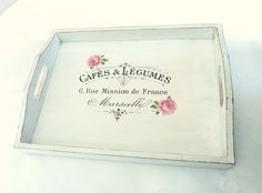 Wood Tray Shabby Chic Decor White with Pink Roses by SayaArtDesign
