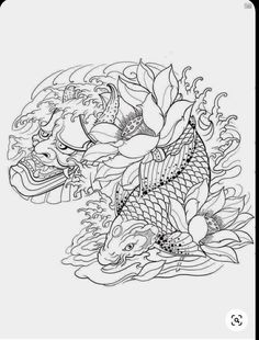 Koi Tattoo Sleeve, Hannya Mask Tattoo, Koi Fish Tattoo, Koi Tattoo Design, Statue Tattoo, Japanese Tattoo Art, Japanese Tattoo Designs, Asian Tattoos, Tribal Tattoos