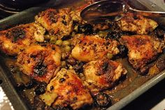 Chicken Marbella - Serves 20 20 chicken breasts 1 heads garlic, peeled ...
