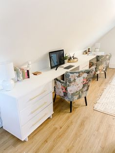 Countertop Desk, Faux Marble Countertop, White Countertops, Concrete Countertops, Butcher Block Desk, Desk For Two, Dresser Desk, Dressers, Wall Desk