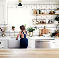 white + wood + subway tile + open shelving