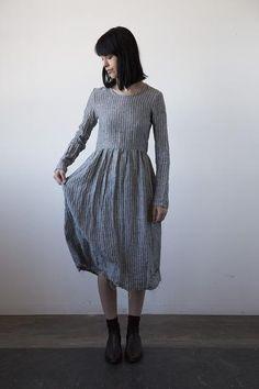 Agnès Linen Dress - Grey Stripe
