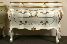 Pair Parcel Paint and Gilt Decorated Italian Bombe Commodes, Night Tables | From a unique collection of antique and modern commodes and chests of drawers at https://www.1stdibs.com/furniture/storage-case-pieces/commodes-chests-of-drawers/