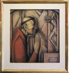 """K. Nathan Gallery 24""""x22"""" pastel and charcoal on paper, """"Fray Junipero Serra"""" by Alfredo Ramos Martinez"""