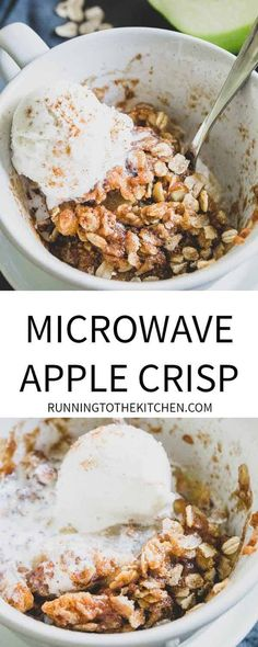 Microwave mug apple crisp is an easy and quick recipe for fall when you need a single serve dessert idea! Microwave mug apple crisp is an easy and quick recipe for fall when you need a single serve dessert idea! Quick Apple Crisp, Quick Apple Dessert, Apple Crisp Topping, Best Apple Crisp Recipe, Healthy Apple Desserts, Gluten Free Apple Crisp, Apple Crisp Recipes, Köstliche Desserts, Dessert Recipes
