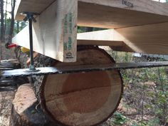 DIY Chainsaw mill making a first cut - our portable chainsaw mill