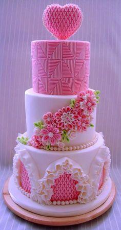 Wedding cake w' smocking & ruffles decoration~Cake by Nadia CakesDecor.co <3