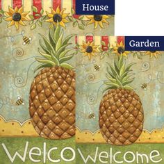 Sunflowers & Pineapple Flags Set (2 Pieces)