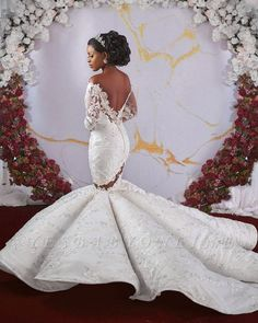 Glamorous Off-the-shoulder Ruffles Applique Beaded Mermaid Wedding Dresses with Long Sleeves Worst Wedding Dress, Classic Wedding Dress, Gorgeous Wedding Dress, Wedding Dress Sleeves, Wedding Dress Shopping, Long Sleeve Wedding, Dream Wedding Dresses, Bridal Dresses, Wedding Gowns