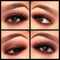 Defined lashes and pretty brown eyeshadow.