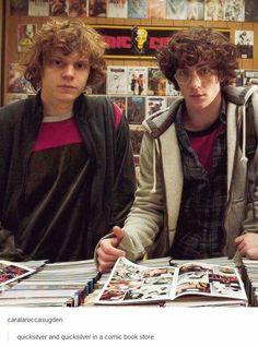Quicksilver and Quicksilver in a comic book store
