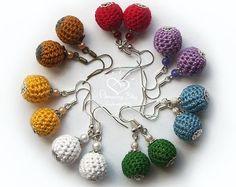 MINI Crochet EARRINGS, Mini Ball Earrings, Eco friendly Earrings, Crochet bead Jewelry Modern gift for her. Rainbow colour Organic earrings
