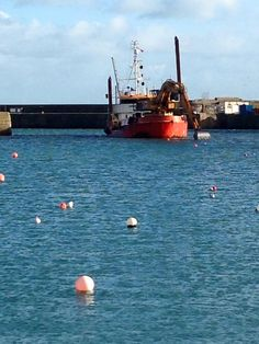 Buoys and blue water. #Penzance harbour. February 2015.