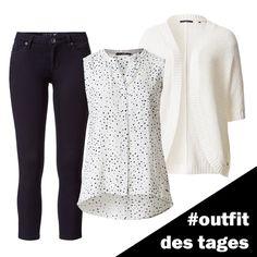 Ärmellose Bluse mit Sternchen-Print, 3/4-Jeans und Grobstrick-Cardigan von zero #zerofashion #outfit #ootd