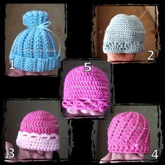 5 Baby Hats free crochet patterns