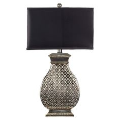 Table lamp with a quatrefoil motif in a silver finish.   Product: Set of 2 table lampsConstruction Material: Re...