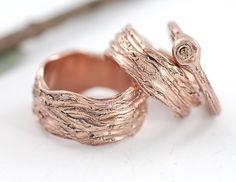 14K rose gold tree bark rings