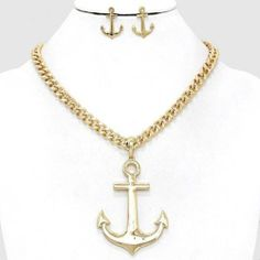 Chunky Anchor Charm Gold Chain Necklace Earring Set Fashion Costume Jewelry | eBay