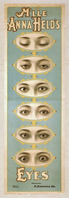 M'lle Held's Eyes, Lithograph by Strobridge Lith. Co., c. 1898, via Library of Congress  http://www.loc.gov/pictures/item/var1993000355/PP/ No known restrictions on publication.