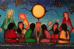 """Celebrating Memories"" by Simone Mcleod, Cree-Ojibwe. Native American Paintings, Native American Wisdom, Native American Artists, Native American Women, American Indian Art, Native American History, Kunst Der Aborigines, Southwest Art, Canadian Art"