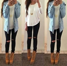 Passion For Fashion - This is for asked for outfits that. Casual Fall Outfits, Fall Winter Outfits, Outfits For Teens, Classy Outfits, Look Fashion, Teen Fashion, Fashion Outfits, Womens Fashion, Fashion 2016