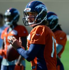 Description of . ENGLEWOOD, CO - SEPTEMBER 5: Quarterback Brock Osweiler (17) runs through a few passing drills. The Denver Broncos Football team practices at Dove Valley in Englewood in preparation for Sunday's season opener against the Indianapolis Colts. (Kathryn Scott Osler/The Denver Post)-- #ProFootballDenverBroncos