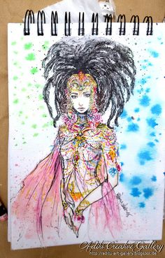 The Queen of colorful chaplet  Media:  Ecoline NEocolorsII Aquarell Crayons Mondeluz Uni-ball Signo broad