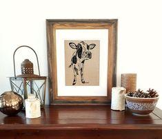 Wall Art Print - Unframed - Cow Wall Decor - Rustic Wall Decor - House Warming Gift - Kitchen Art - Screen Print Art - Cow Print Livingroom Rustic Wall Decor, Rustic Walls, Fabric Art, Linen Fabric, Cow Art, Screen Design, Kitchen Art, House Warming, Wall Art Prints