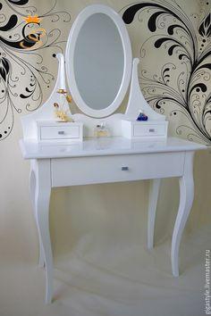 Купить Туалетный столик с зеркалом - белый, туалетный столик, зеркало настенное, зеркало в деревянной раме