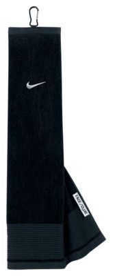 Nike Face/Club Tri-Fold Golf Towel - Black/Silver