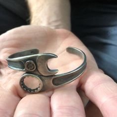Handmade Oxidized 925 sterling silver Spanner bracelet, Wrench biker cuff bangle, Motorcycle jewelry, bracelet gift for handyman Father – 2019 - Metal Diy Guy Jewelry, Jewelry Sites, Bridal Jewelry, Silver Jewelry, Silver Rings, Metal Art Projects, Scrap Metal Art, Welding Art, Gifts For Father