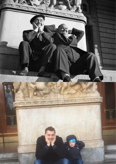 Laurel & Hardy in Stockholm, Sweden 1947. Now and Then.
