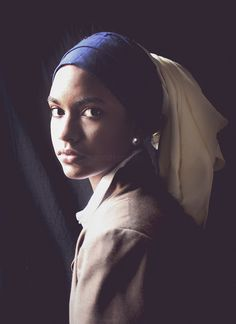 """Caribbean design student Melissa of """"Shicake Makes Stuff"""" did photos of herself as the subject of famous paintings. Here: Girl with a Pearl Earring."""