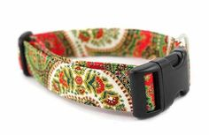 Bow Wow Couture Dog Collar in Christmas Paisley available at www.ZoePetSupply.com