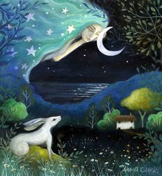 Earth Angels Art. Art and Illustrations by Amanda Clark: Moon Dreams and Fields of Jade