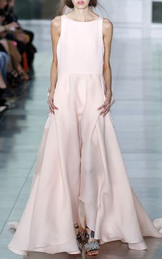 Pastel Pink Embroidered Back Silk Gown by Antonio Berardi for Preorder on Moda Operandi