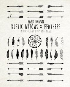 Tatto Ideas 2017  Tribal Rustic Boho Feathers Dream catcher and Arrows Clip Art Clipart PNG & Vector EPS AI Design Elements Digital Instant Download