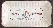 Pfaltzgraff Snow Village Sculpted Bread Tray